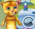 Talking Ginger Washing Clothes